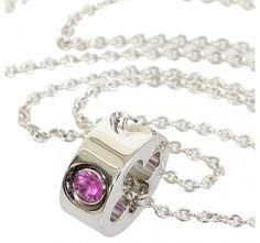 Louis Vuitton 18K White Gold 1 p Pink Diamond Empreinte Necklace