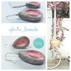 Boho chic earrings Air drying clay earrings Sterling silver