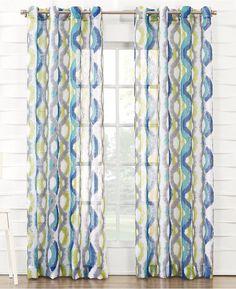 918 Bucoda 51 X 84 Crushed Voile Geometric Watercolor Curtain Panel Bedding