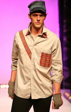 Mens upcycled button down shirt w/ denim hat & fingerless gloves