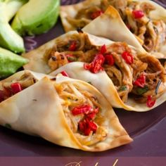 Use wonton wrappers to make crispy baked chicken tacos.