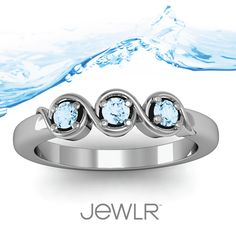 The Triple Wave Ring in Aquamarine