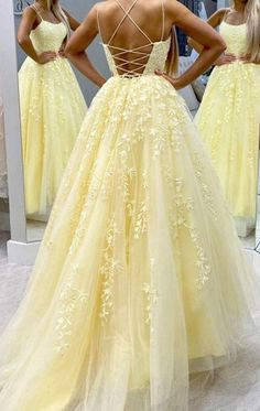 Hot Yellow tulle lace long prom dress party dress Beaded Prom Dresses,Chiffon Prom Dress,Fashion Homecoming Dress,Sexy Party Dress,Custom Made Eve Straps Prom Dresses, Pretty Prom Dresses, Prom Dresses For Teens, Prom Outfits, Backless Prom Dresses, Ball Gowns Prom, Tulle Prom Dress, Prom Party Dresses, Dance Dresses
