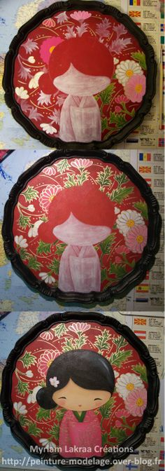 STEP BY STEP/ PAS A PAS Plateau, motif kokeshi - Peinture acrilique sur medium (technique : pinceau)  - 2009 - Myriam Lakraa Créations