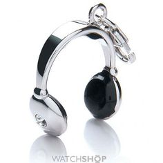 Sterling silver and enamel headphones charm.