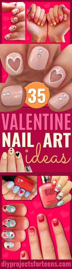 Valentine Nail Art Ideas - projectnamehere - Cute and Cool Looks For Valentines Day Nails - Hearts, Gradients, Red, Black and Pink Designs - Easy Ideas for DIY Manicures with Step by Step Tutorials - Fun Ideas for Teens, Teenagers and Women http://diyprojectsforteens.com/valentine-nail-art-ideas