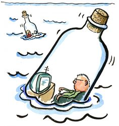 Bottle people out at sea, Metaphor drawing #HikingArtist