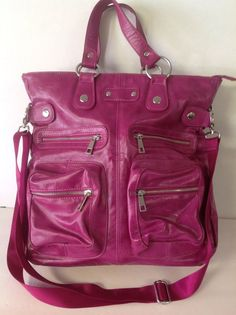 Messenger Crossbody Large Fuschia Bag Purse Designer Fashion Multi Pockets  #NoBrand #MessengerCrossBody