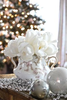 FRENCH COUNTRY COTTAGE: Silver  Christmas decor