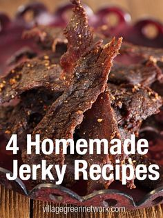 4 Homemade Jerky Recipes / villagegreennetwo… Source by Beef Jerkey, Beef Jerky Marinade, Homemade Beef Jerky, Venison Recipes, Keto Beef Jerky Recipe, Deer Jerky Recipe, Hawaiian Beef Jerky Recipe, Tender Beef Jerky Recipe, Jerky Seasoning Recipe