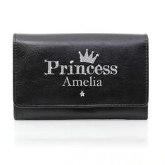 Personalised Black Princess Purse :: Add any name of your choice - Fast UK Delivery. Personalized Gifts For Her, Ladies Purse, Flower Girl Gifts, Pink Princess, Leather Purses, Gifts For Women, Shopping Bag, Sunglasses Case, Card Holder