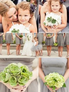 A modern wedding color scheme in grey and green