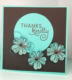 Thank you card with fine wire & black Jewel embellishments 💕