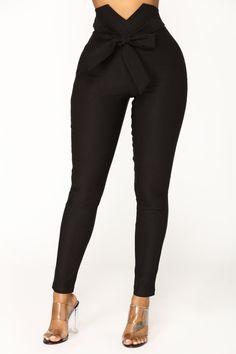 Knot Your Girl Pants - Black – Fashion Nova Classy Outfits, Casual Outfits, Cute Outfits, Casual Pants, Fashion Pants, Fashion Outfits, Womens Fashion, Leggings Fashion, High Waisted Dress Pants