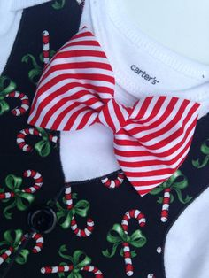 Christmas Outfit Winter Vest Boys Christmas Bow Tie by SweetTootsy