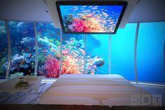 Underwater hotel room in Bora Bora