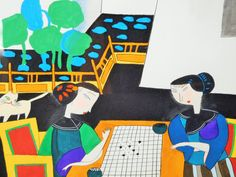 Contemporary Japanese Painting of Women Playing Backgammon Bright Pop Art Colors - pinned by pin4etsy.com