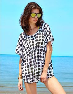2cc062d43e MG Collection® Synthetic Silk Black   White Houndstooth Beach Swimsuit Cover -Up