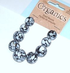Round Mother of Pearl and Resin Beads in Black by BeadsFromHaven, $2.00