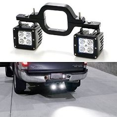 Tow Hitch Mount High Power CREE LED Pod Backup Reverse Lights/Rear Search Lighting/Off-Road Work Lamps I need this if rear bumper doesn't have light mounts New Trucks, Cool Trucks, Chevy Trucks, Pickup Trucks, Truck Drivers, Lifted Chevy, Custom Trucks, Jeep Jk, Jeep Gear