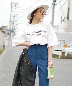 MOCA(モカ)の異素材ロゴチュニック(Tシャツ/カットソー)|ホワイト