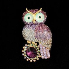 Lovely High Quality Purple Owl Brooch Pin W/ Swarovski Crystals