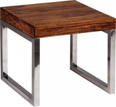 Wohnling WOHNLING Beistelltisch Massiv Holz Sheesham Wohnzimmer Tisch Metallgestell Couchtisch Landhaus Stil Dunkelbraun