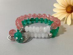 Pulsera Cuarzo Frambuesa/Jade Verde,piedras semipreciosas,joyas de cuarzo,joyas de jade,pulsera de piedras,piedras,regalo para mujer,regalos de DeMaiCreaciones en Etsy