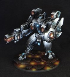 """Warhammer 40k Tau Riptide. Spectacular use of the """"non-metallic metals"""" painting technique - way above my level!"""