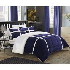 Chiron 7 Piece Sherpa Lined Plush Microsuede Comforter Set Blue