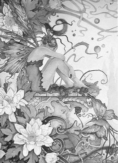 Fairy Myth Mythical Mystical Legend Elf Fairy Fae Wings Fantasy Elves Faries Sprite Nymph Pixie Faeries Coloring pages colouring adult detailed advanced printable Kleuren voor volwassenen coloriage pour adulte anti-stress kleurplaat voor volwassenen