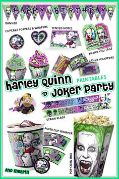 Harley Quinn and Joker party printables! Suicide Squad party! Pop corn box, cup…