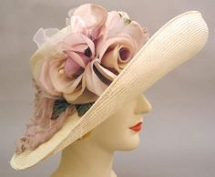 Louise Green Adrienne Hat Old mauve and cream organdy and silk blooms on a turned-up parisisal, with hatbox. i6148