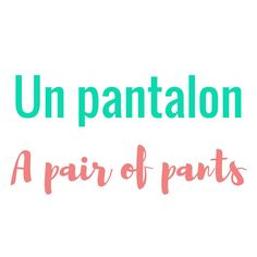 """New French word: un pantalon = a pair a pants / trousers Yes in French we use """"pants"""" as a singular item!"""