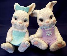 "Ceramic Bunny Shelf Sitters Vintage 80s Pastel Spring Easter Decor Large 9"" Tall"