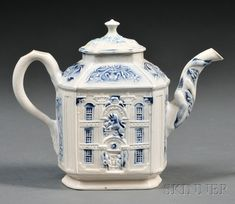 Staffordshire Salt-glazed Stoneware Mansion Teapot, England, mid-18th century