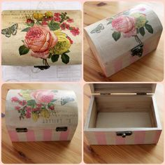 Paris Rose Painted & Decoupaged Wood Box