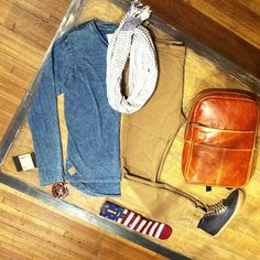 he Squad Co Denim L/S tail tee, Zanerobe slingshot denimo pant, Soda and Scotch scarf, Focused Space cognac backpack, Generic Surplus work boot, Stance socks, M Cohen Designs bracelets, Green Tag wallet #mensfashion #outfits #clothing #clothingstore