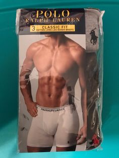 611875b5f9b Mens Polo Ralph Lauren Underwear Large Cotton Long Leg Boxer Briefs 3 Pair   fashion