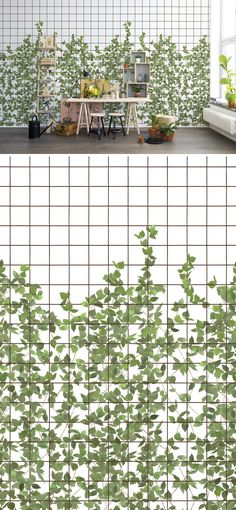 WALL MURAL | WALLPAPER | CLIMBING | CHLOROPHYLL | TRELLIS | GREEN | GARDEN | LEAFS | GROWING | VINE | PATTERN