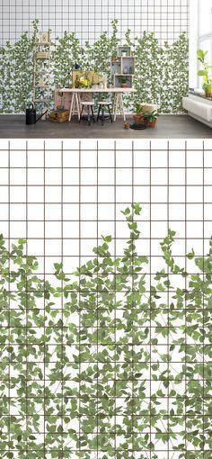 WALL MURAL | WALLPAPER | CLIMBING | CHLOROPHYLL | TRELLIS | GREEN | GARDEN | LEAFS | GROWING | VINE | PATTERN
