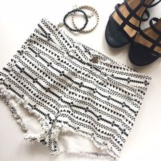 ✨HP ✨Tribal Print Black and White Cutoff Shorts These like new, cutoff shorts by Divided (H&M) feature a black and white tribal aztec print that is so trendy right now! They are a size 4 but H&M does run small! Make an offer! Divided Shorts