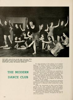 "Athena Yearbook, 1949. ""The Modern Dance Club"" ""Although its primary function of striving to improve technique and further interest in the student's art remained paramount in the club's aims, the club continued to expand its interests.""  :: Ohio University Archives"