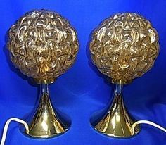 Pair Mid Century 60´s Desklamp Lamp Glass & Lucite Tulip Foot Bedside Lamps