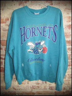 Vintage 90's NBA Charlotte Hornets Crewneck Sweatshirt by RackRaidersVintage on Etsy