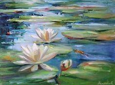 """Екатерина Нешкова, Ekaterina Neshkova Art, картина, """"В пруду"""", 45х60см, кувшинки, лилии,пруд"""