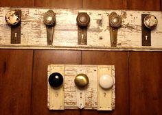 Reclaimed Lumber And Door Knobs Coat Racks.