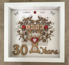 With wooden tree, wooden numbers, scrabble tiles and lots of pearl embellishment detail to give it a high quality look. Pearl Wedding Anniversary Gifts, Wedding Aniversary, Year Anniversary Gifts, Wedding Gifts, Anniversary Frames, Anniversary Ideas, Arte Banksy, Anniversary Decorations, Wedding Frames