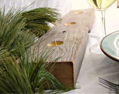 rustic barn board centrepiece, candle holder from reclaimed barn beam with 3 beeswax votives. Love this!