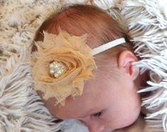Baby Headband flower headbandbaby by ThinkPinkBows on Etsy